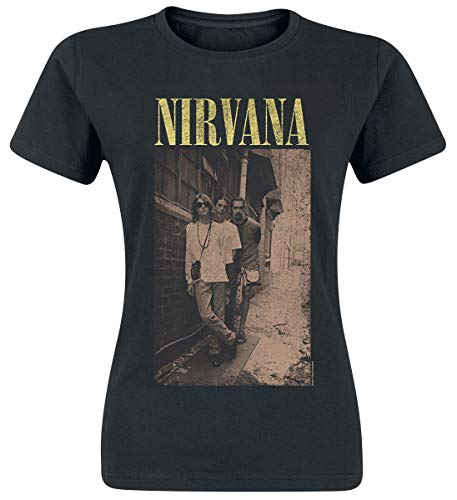 Nirvana Alleyway Mujer Camiseta Negro L, 100% algodón, Regular
