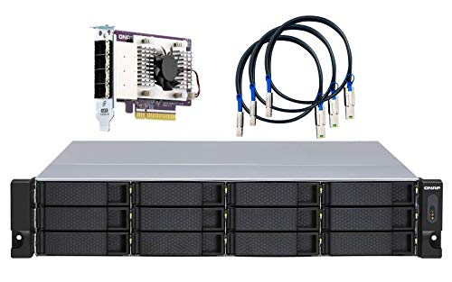QNAP TL-R1200S-RP 12 Bay 2U Rackmount SATA 6Gbps JBOD Storage Enclosure with Redundant Power Supply. PCIe SATA Interface Card (QXP-1600eS) Included