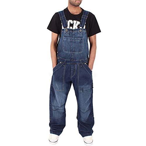 Caige Fashion Denim Uomo Salopette Multi-Tasca Allentata Jeans,B,XXL