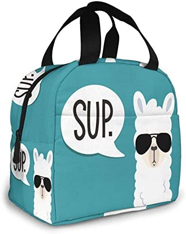 Cute Sup Llama Portable Insulated Lunch Bag For Women Girl Waterproof Cooler Tote Bento Bag product image
