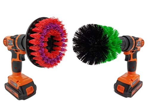 Stiff Scrubbing Brush Drill Attachments: Beast Brush Spin Power Scrubber for Fast and Easy Cleaning for All Surfaces, Heavy Duty Bristles for Bathroom Shower and Tub, Kitchen Tiles, Carpet, Cars