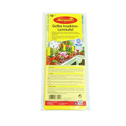 AEROXON Gelbe Insekten Leimtafel - 10 Stück Set - 10x25cm Größe - wirkt gegen weiße Fliegen, Minierfliegen, Thripsen, Trauermücken und fliegende Blattläuse