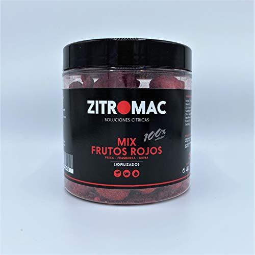 Mix frutos rojos liofilizados 100% naturales. Frambuesas + moras + fresas deshidratadas. Fruta deshidratada para cóctel / infusiones / té / repostería /postres. Tarro de 60 gr de frutos rojos secos.