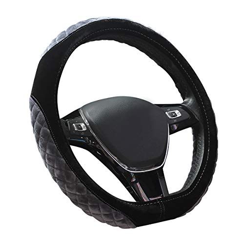 CHARMCHIC Fuzzy D Shape Anti Cold&Slip Car Steering Wheel Cover Universal 15 Inch, Gray