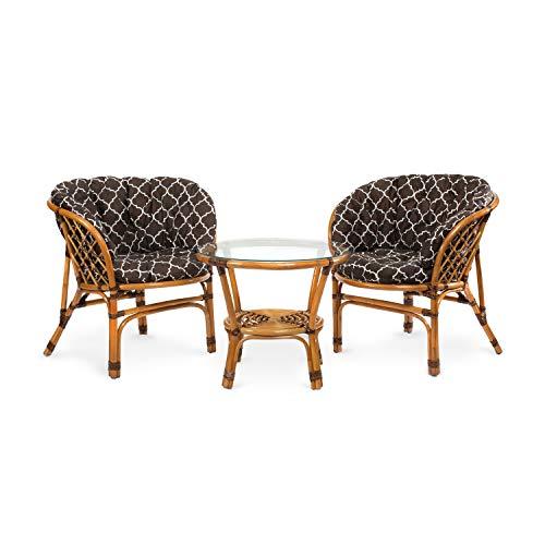Rattan Gartenmöbel Set - Balkon Möbel - Lounge Möbel Terrasse - Ragnarök Gartenmöbel - Tisch Set - Balkonmöbel Set… (Natur - Muster Braun)