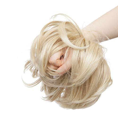Updo Hair Extensions Ponytail Haarteil Dutt Haargummi mit Haaren Glatt Haarknoten Hochsteckfrisuren Haarverlängerung für Frauen 80g Aschblond bis Bleichblond