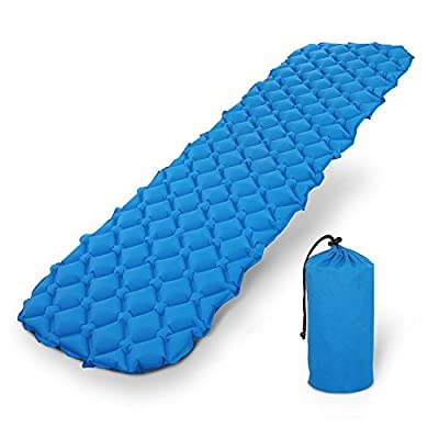 Self-Inflating Camping Sleeping Pad, Ultralight Camp Sleeping Mat for Indoor and Outdoor, Backpacking, Hiking - Airpad, Inflatable Bag, Travel Gear - Compact & Lightweight Air Mattress