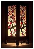 GDICONIC Lámpara de Mesa Lámpara de Mesa de Papel de Sisaka de Tailandia de Chiang MAI, Vino de Flor de Sakura Japonesa