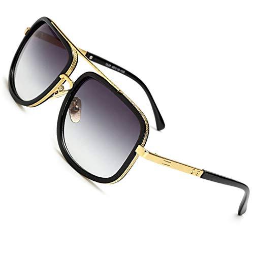 SHEEN KELLY Retro Vintage Baratas para Mujer y Hombre Marco de metal Grandi gafas de sol Metal Pilotos Espejo