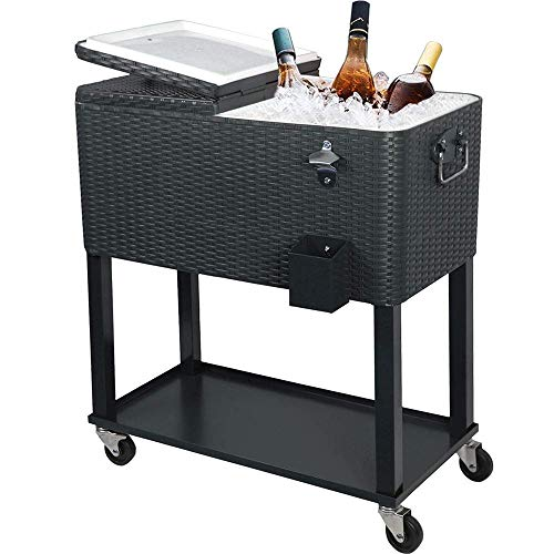UPHA 80 Quart Rolling Outdoor Patio Cooler Cart on Wheels, Wicker Pattern Portable Drink Beverage Bar for Patio Pool Party, Ice Chest with Shelf and Bottle Opener, Grey