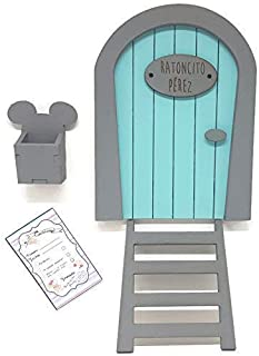Puerta Ratoncito Pérez azul de madera,con escalera,buzón y certificado. Producto artesanal hecho en España