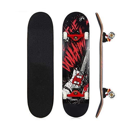 Yangyang Skateboard Completo Tabla de Skateboard Tabla Completa con rodamientos ABEC-9 de 7 Capas 90A de Arce Duro, Carga de hasta 120 kg, para Principiantes y Profesionales