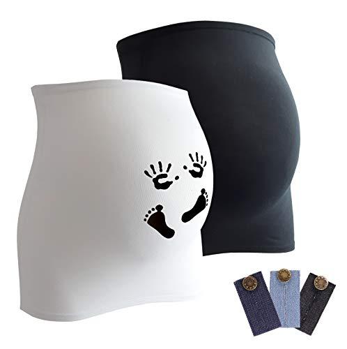 Mamaband Schwangerschaft Bauchband für die Babykugel im Doppelpack 1xUni 1xPrint – Rückenwärmer und Shirtverlängerung für Schwangere – Elastische Umstandsmode Weiß 42-48
