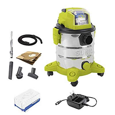 Sun Joe 24V-WDV6000 24-Volt 5.3-Gallon Cordless Stainless Steel Wet/Dry Vacuum, Kit (w/ 4.0-Ah Battery and Charger)