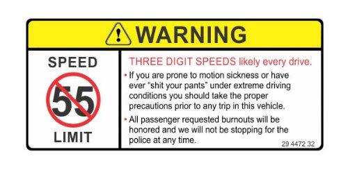Warning three digit speeds every drive funny joke JDM vinyl decals bumper stickers