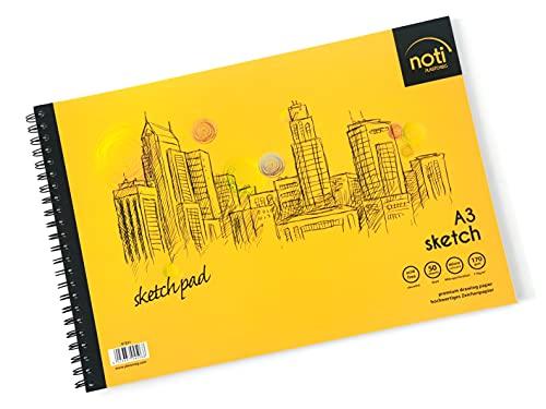 PLASTOREG Zeichenblock/Sketch Pad A3 mit Spiralbindung Skizzenbuch - 50 Blatt hochwertiges glattes Zeichenpapier in 170 g/m² Premium-Qualität
