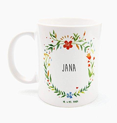 Mr. & Mrs. Panda Tasse Jana Design Frame Barfuß Wiese - 100% handgefertigt aus Keramik Holz - Anhänger, Geschenk, Vorname, Name, Initialien, Graviert, Gravur, Schlüsselbund, handmade, exklusiv