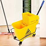 Aohuada Carro de limpieza con prensa de 20 l, cubo de fregona, cubo de fregona, con ruedas y asa, para la limpieza de hoteles y escuelas