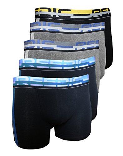 Reedic Herren Boxershorts, Baumwolle, 5er Pack, Größe Large (L), Farbe je 2X blau, grau 1x schwarz-gelb