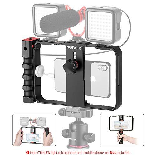Neewer Smartphone Kamera Stabilisator Video Rig Videoersteller Gehäuse Handy Stabilisator Griff Stativhalterung für Videomaker für iPhone 11 11 Pro 11 Pro Max X Xs HUAWEI Samsung