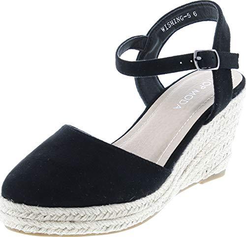 TOP Moda Wishing-5 Women's Closed Toe Buckle Strap Espedrilles Sandals,Black,7