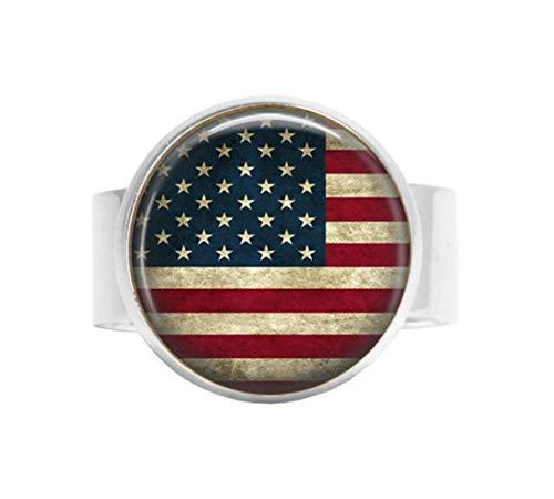 nijiahx Verstellbarer Ring mit amerikanischer Flagge – USA-Flaggenschmuck – Patriotischer Schmuck – Old Glory – Stars and Stripes – US-Flagge Verstellbarer Ring