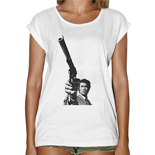 Camiseta Mujer Fashion Clint Eastwood Pistola Western Film-Blanco Bianco Large