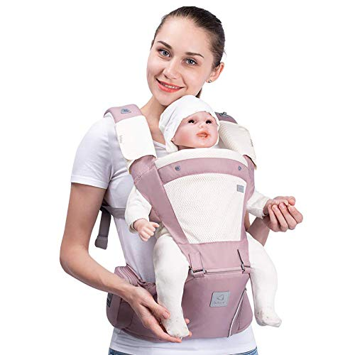 Baby - Carrier, 6-in-1 Baby Carrier with Waist Stool-, Bebamour Baby Carrier with Hip Seat for Breastfeeding, One Size Fits All - Adapt to Newborn, Infant & Toddler,Light Pink