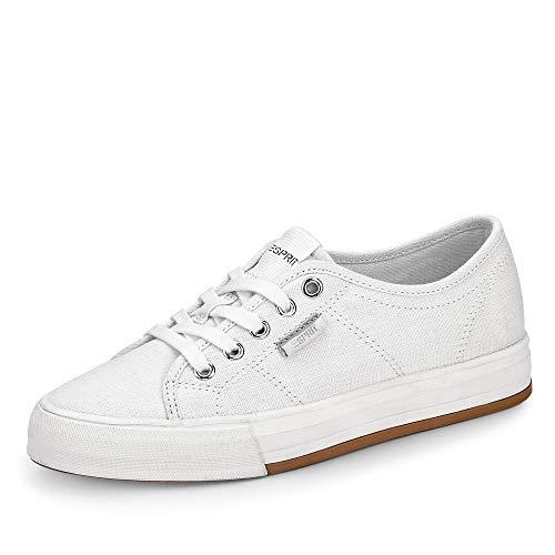 ESPRIT 030EK1W335 Simona Lace Up Damen Sneaker aus Textil 25-mm-Plateausohle, Groesse 38, weiß