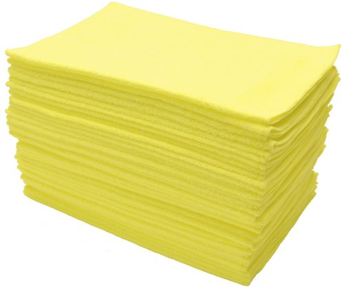 Eurow Microfiber Cleaning Cloths 12 X 16in 300GSM - 36 Pack Yellow