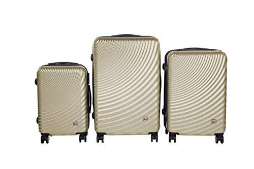 3 TEILIGES Kofferset EINMALIG IMEX Koffer Trolley HARTSCHALE ABS REISEKOFFER Set 3400 (Champagne)