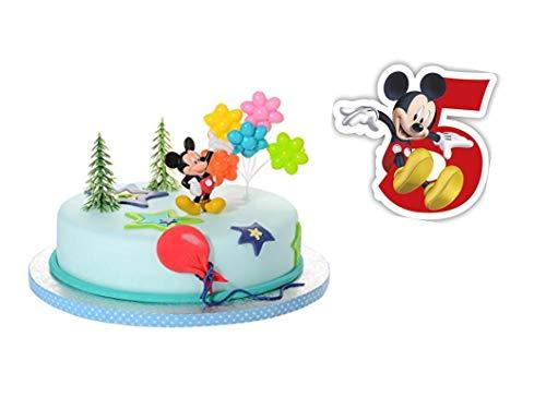 PDL Torten Deko Set 5.Geburtstag Mickey Mouse 5 teilig Junge Kindergeburtstag Torten Kerze Kuchendeko Tortenfigur Tortendeko