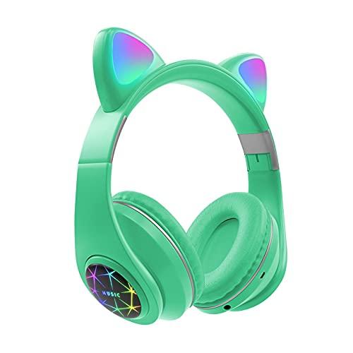 FDKJOK Inalámbrico Bluetooth 5.0 FM Gaming Headset Control de volumen LED Light Up Gato Ear Auricular (verde)