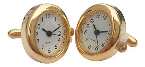 Onyx - Art London Herren-Manschettenknöpfe, oval, goldfarben