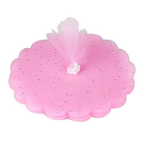 QUMAO (Diametro 24cm) 100 pz Tulle Veli in Organza con Punti Luccicanti Bomboniere Portaconfetti (Rosa)