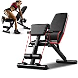 Bancs Musculation Pliable,Banc Haltérophilie Multifonction Sit-up Fitness avec Corde,Tabouret Haltère,Fitness Banc,Salle de Fitness à Domicile Banc Incliné,Banc d'exercice