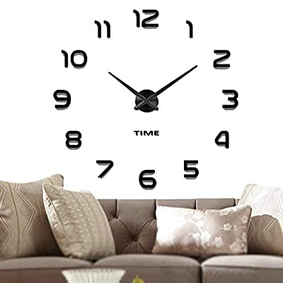 Vangold Frameless DIY Wall Clock, 2-Year Warranty 3D Mirror Wall Clock Large Mute Wall Stickers for Living Room Bedroom Home Decorations