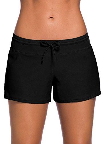 FIYOTE Shorts De Bain Femme Culotte de Maillot Casual Shorty de Plage Bas de Bain Décontracté Noir M(EU40-42)