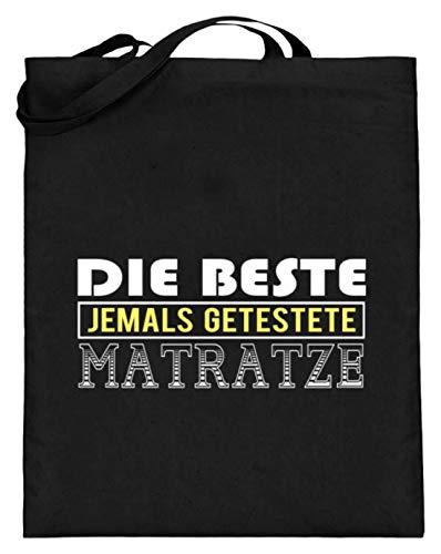 SPIRITSHIRTSHOP Die beste jemals getestete Matratze? - Jutebeutel (mit langen Henkeln) -38cm-42cm-Schwarz