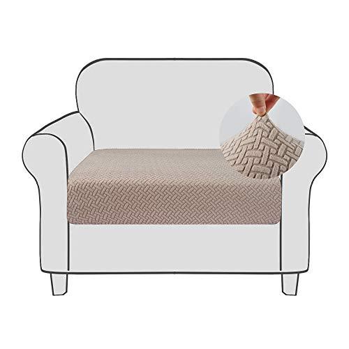 Qishare Funda de cojín para sofá Funda elástica para asiento de sofá Funda protectora con fondo elástico Lavable Fundas de cojín de sillón universales súper suaves(Caqui, 1)