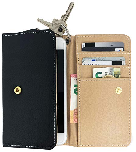 Premium Handy Geldbörse Portemonnaie Universelles Hülle Cover Tasche mit Ringloch für Kette Schlüssel Handytasche 14,5 x 8 x 1 cm - Leder Schwarz Braun - Smart Flip Case