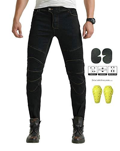 GELing Herren Motorradhose Jeans Motorrad Hose Motorradrüstung Schutzauskleidung Motorcycle Biker Pants,Schwarz,2XL