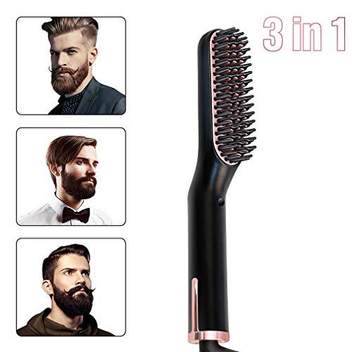 HUA JIE Lisseur Barbe Brosse Lissante, Multifonctionnel Lisseur Brosse Chauffante Température Réglable Anti-Brûlure Peigne Barbe/Cheveux pour Homme/Fe