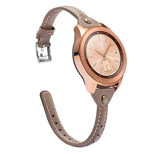 Wearlizer Slim Leather Compatible with Samsung Galaxy Watch Bands 46mm Womens Mens Strap Wristband Leisure Unique Bracelet(Silver Metal Clasp) Galaxy Watch PinkGrey