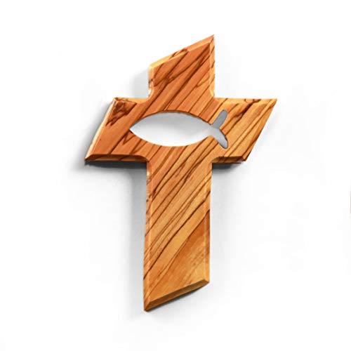 KASSIS Olivenholz Kreuz mit Fisch zum Aufhängen 13cm - handgemacht in Bethlehem