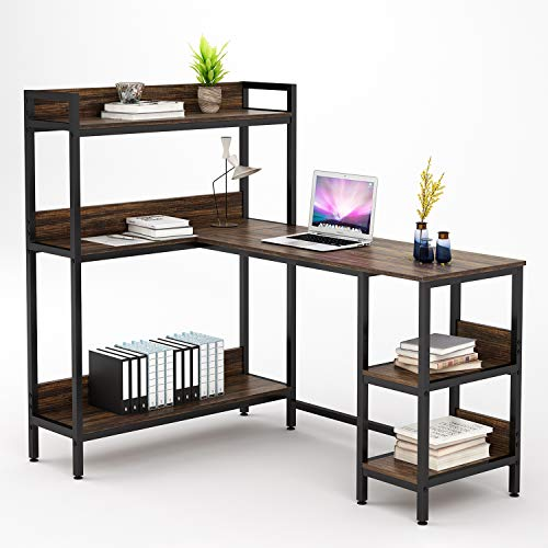 "Umekesa L Shaped Desk with 5 Storage Shelves, 55"" Large Corner Computer Office Desk Study Table Writing Desk Workstation with Hutch Bookshelf for Home Office, Rustic Walnut"