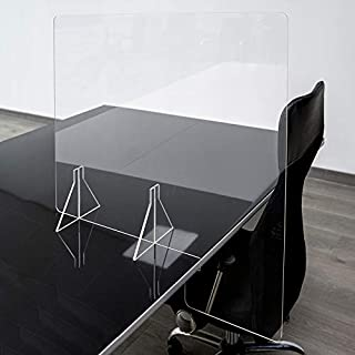 GRUPO ZONA | Mamparas para oficinas | Material Metacrilato | Transparente | Modelo Seattle 1 | De Sobremesa | Para Separación en Oficinas | 4 mm de Grosor | Incluye Soportes de 4 mm | 85 x 70 cm