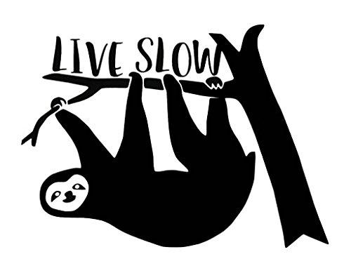 """Vinyl-Aufkleber """"Live Slow"""", lustiger Faultier-Aufkleber, Auto, LKW, Vans, Wände, Laptop, 14 x 10 cm, CCI1409"""