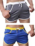 Rexcyril Men's Running Workout Bodybuilding Gym Shorts Athletic Sports Casual Short Pants Small 2-Pack
