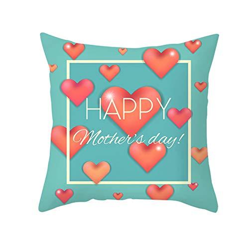 AtHomeShop Funda de cojín decorativa de 50 x 50 cm, de poliéster, con texto 'Happy día de la Madre', con corazón, cuadrada, para salón, dormitorio, oficina, sofá, decoración – azul y rojo